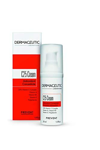 Dermaceutic C25 Cream - Crema giorno antiossidante con vitamina C, vitamina E, vitamina B5 e polifenoli - Crema idratante protettiva per il viso per migliorare e illuminare l'incarnato - 30 ml