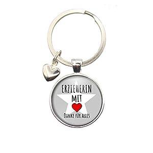 MeLifestyle Cabochon Schlüsselanhäger Erzieherin mit Herz Danke für Alles Geschenk Abschied