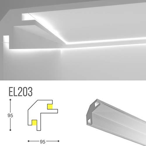 Cornice per illuminazione indiretta led a parete e soffitto - el203 (1,15 metri)