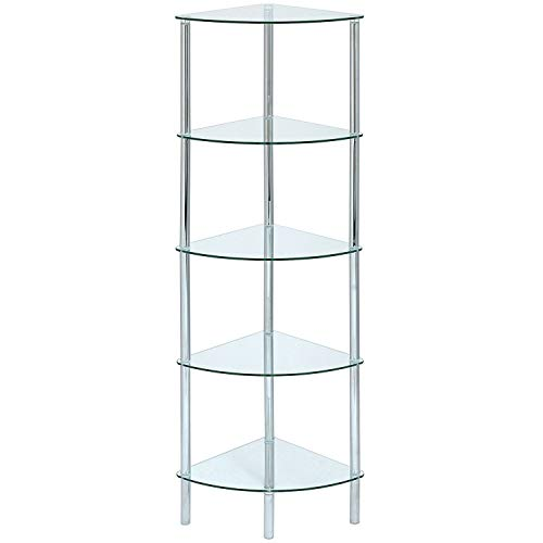 ASPECT Polo 5 Tier Corner Display Shelving Unit, Glass, Clear -