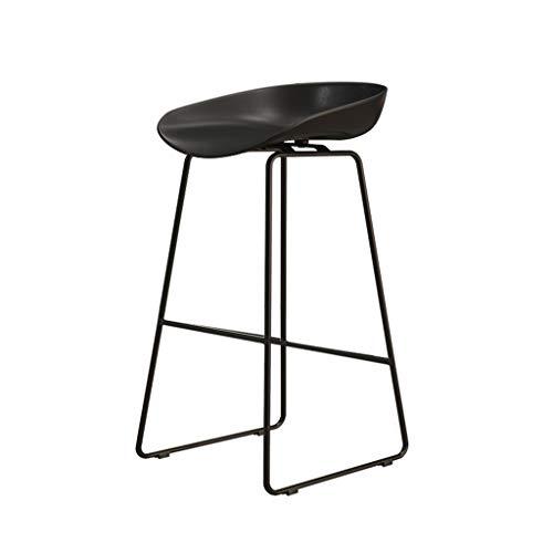 Comif-tabouret de bar Einfacher Hochhocker für das Café, Barstuhl aus schwarzem Schmiedeeisen, gewölbtes PP-Kissen, nordisch-minimalistischer Stil (Mehrfarben optional, Sitzhöhe: 65 cm)