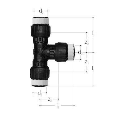 SANIPEX MT-T-Stück, d 32x32x32 mm