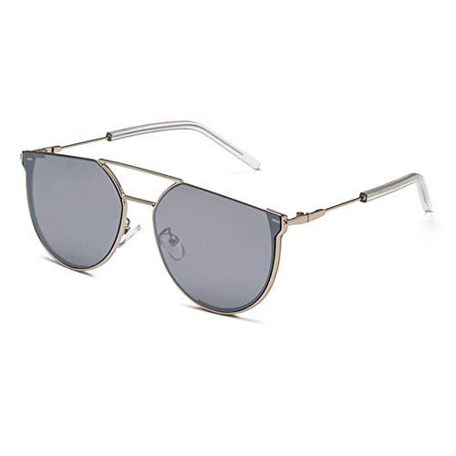 YHgiway 2019 Neue Doppelbrücke Unisex Luxusmarke Designer Sonnenbrillen, unregelmäßigen Rahmen gespiegelt Flache Linse Eyewear UV400 Schutz YH7500,SilverFrame/SilverLens