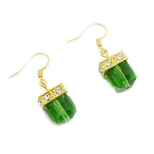 trick es Day, Fashion Women Faux Gemstone Rhinestone Square Dangle Drop Hook Earrings Schmuck-Green ()