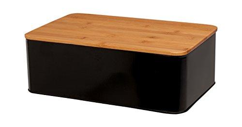 Tivoli Brotkasten aus Metall / Mit Deckel aus Bambus / 33 x 20,9 x 11,9 cm / Brotbehälter / Rechteckig / Farbe: Schwarz