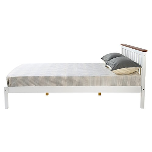 Double Bed Frame, HST Mall 4ft6 Double Bed Wooden Frame in White for Kids or Adult Bedroom Furniture