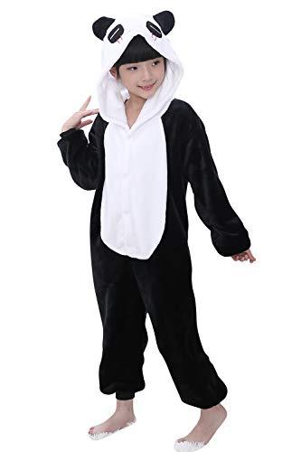Panda Kids Pyjama Kostüm - YAOMEI Kinder Onesies Kigurumi Pyjamas, Mädchen Jungen Tier Sleepsuit Nachtwäsche Hoodie, Halloween Kostüm Kleidung Weihnachten Cosplay Party (140 für Kinder Höhe 130-140CM (51