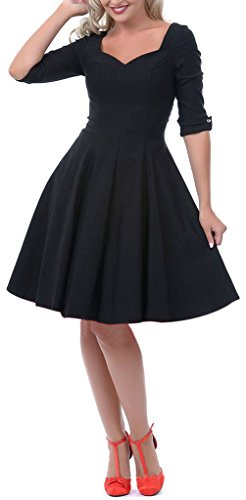 Eyekepper Robe Femme demoiselle annees 1950 vintage 3/4 manche robe courte Noir