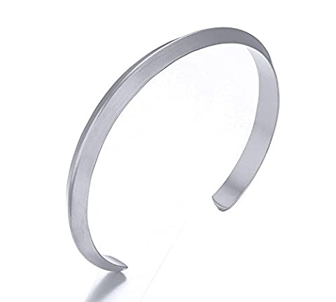 Vnox Stainless Steel Minimalist Style Triangle Wire Metallic Opeen Cuff Bangle Bracelet for Men and Women