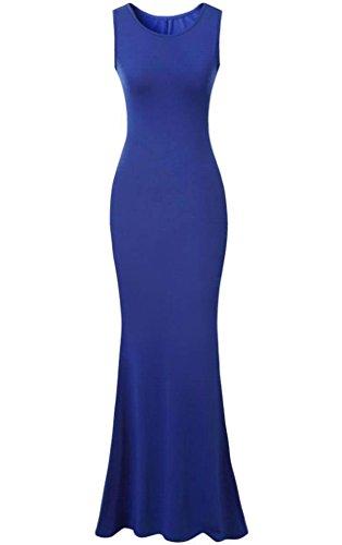 Babyonlinedress Damen Ärmellos BodenLang Elegant Abendkleid Maxikleid Brautjungfernkleid U-Boot-Ausschnitt Weiß Schwarz Rot Blau Blau