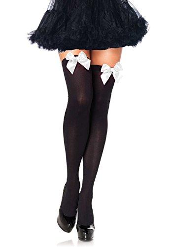 ickdichte Nylon Overknee Mit Satin Schleife, Einheitsgröße (EUR 36-40), schwarz/weiß, Damen Karneval Kostüm Fasching (Playboy Weihnachtsmann Kostüm)
