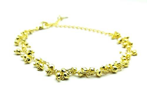 LOVEKUSH - Pulsera de piedras preciosas chapada en oro de 3 mm con forma de pirita de oro facetado de 8 pulgadas BRA-66
