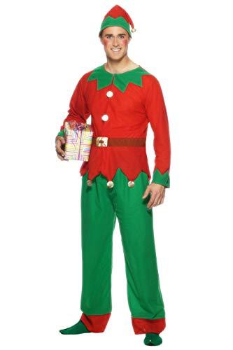 Smiffys, Herren Elfen Kostüm, Oberteil, Hose und Hut, Größe: L, 26025