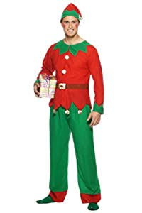 """Smiffys-26025M Disfraz de Elfo, con Parte de Arriba, pantalón y Gorro, Color Rojo y Verde, M-Tamaño 38""""-40"""" (Smiffy"""