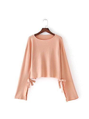 HUA&X Women's Knit Cardigan Tricot Câble Chunky Cavalier Sweater pink