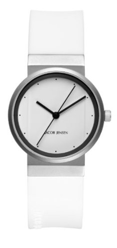 Jacob Jensen New Series Women's Quartz Watch with White Dial Analogue Display and White Rubber Strap 764