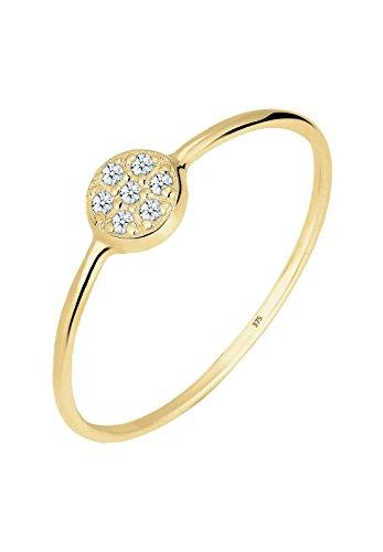 Elli PREMIUM Ring Damen Kreis Scheibe mit Diamant (0.07 ct.) in 375 Gelbgold Preisvergleich