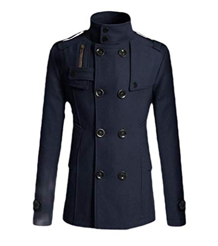 Navy Blue Trench Coat (CuteRose Men Slim Double-Breasted Woolen Jacket Trim-Fit Business Trench Coat Navy Blue S)