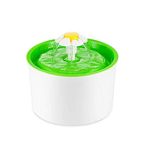 LXYU Haustier-Wasser-Brunnen-Blumen-Art-Automatischer Elektrischer Haustier-Trinkbrunnen-Hundekatze-Trinkende SchüSsel (GrüN) -