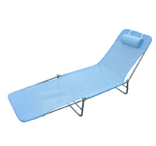 Homcom Chaise longue pliante bain de soleil inclinable transat textilene lit jardin plage bleu