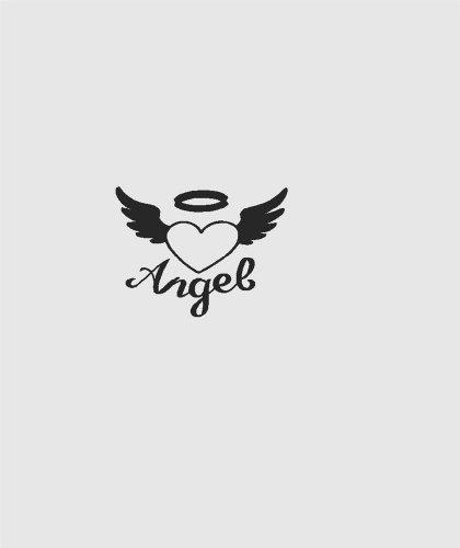 Silhouette Of Engel Herz mit Flügeln und Halo Aufkleber Valentines Love Symbol-Abziehen & Aufkleben Aufkleber-VINYL Art Wand Design Größe: 25,4x 25,4cm-22Farben erhältlich