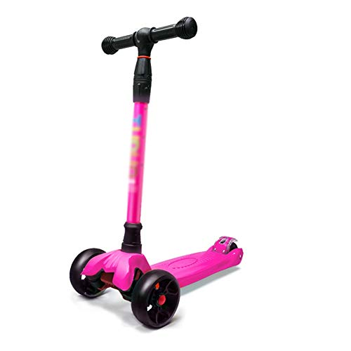 Kinderroller mit 3 Rädern Leichter Tretroller, höhenverstellbarer T-Lenker und PU-haltbares Rad, abnehmbar (Farbe : Rosa)