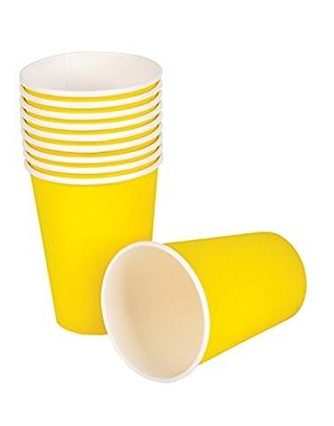 Tankerstreet jetable Jaune papier Tasses pour boissons chaudes froid, gobelets en papier Fête les pique-niques 255,1gram Lot de 8(Jaune)