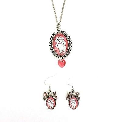 Parure Marie Aristochats : Collier et boucles d'oreilles cabochon en verre d'inspiration vintage avec coeur Swarovski