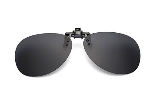UK1stChoice-Zone Unisex Flip-up Sonnenbrillen Klipp auf Polarisierte Sonnenbrille Gläsern Brille Sun-ClipON1304 (Schwarz)