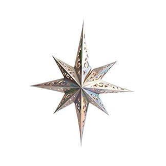 Amosfun Papel de Navidad Estrella Linterna Hueco anís Estrella Pantalla Colgante lámpara Cubierta de árbol de Navidad decoración Colgante para Fiesta Boda cumpleaños Adorno (Plata)