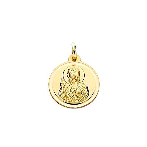 Medalla oro 18k escapulario 16mm Virgen Carmen Corazón Jesús [AA2482]
