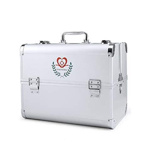 HTDZDX Große Erste-Hilfe-Erste-Hilfe-Box Haushalt Aufbewahrungsbox, 3 Regal Metall Kit Notfall Kit Organizer (Color : Silver)