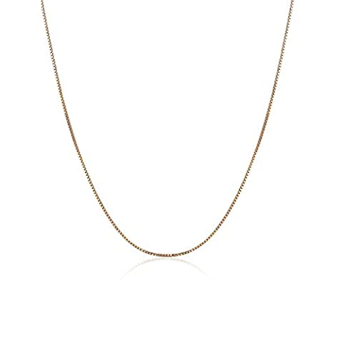 18 ct 750 Rose Gold Fine Classic Venetian Box Chain Necklace With Spring Ring Clasp, 1mm, 16 Inch, Jewellery Gift