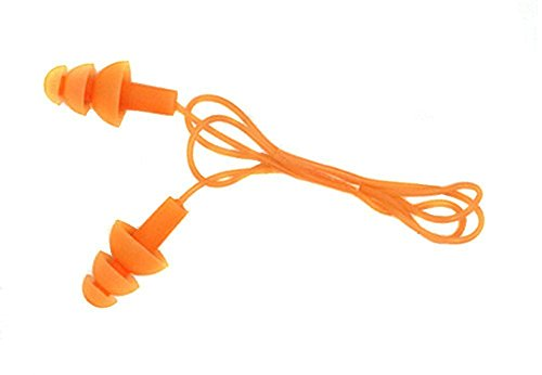 TININNA 5Pcs Silicone Gel Corded String Ear Plugs Earplug Reg Rubber String for Swimming Orange Test