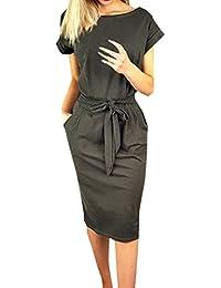 f8d686dcddfce9 Ajpguot Estivo Vestiti da Donna Rotondo Collo Abiti al Ginocchio da Partito  Elegante Abito a Tubino Moda Mini…