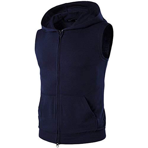 Huixin Maglietta Senza Maniche Leggera Estiva Leggera da Uomo Outdoor Traspirante con Tasche Felpa Sportiva di Alta qualità con Cappuccio di Alta qualità (Color : Blu Scuro, Size : 2XL)