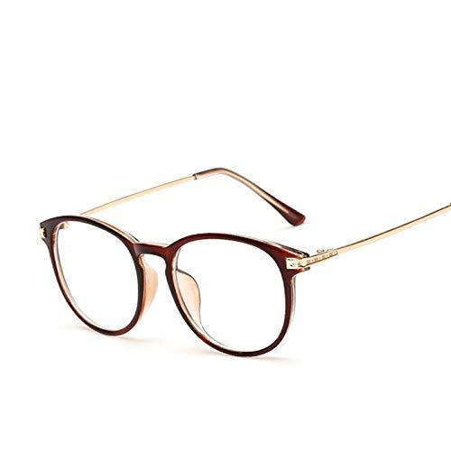 FANGUGF Flache Gläser Runde Rahmenbrille Rahmenbrille Spiegel Damen Herren Augenschutz Optische Brille