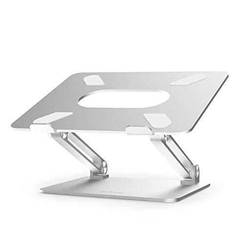 BoYata Laptop ständer: Multi-Angle-Standfuß mit Heat-Vent, Aluminium Einstellbares Notebook ständer kompatibel für Laptop (10-17 Zoll), einschließlich MacBook Pro/Air, Surface, Samsung, HP -Silber