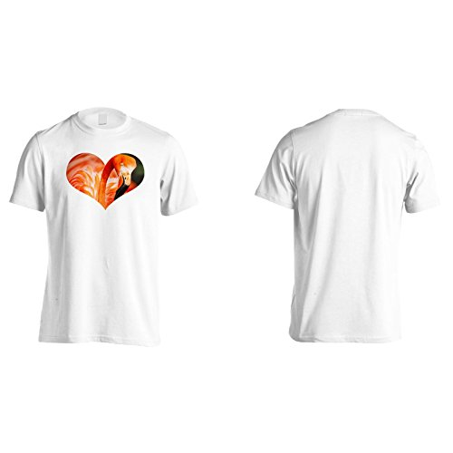 Fenicottero nel cuore forma immagine divertente Uomo T-shirt d649m White