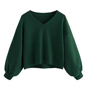 9ffc35f8007820 SHOBDW Frühling Herbst Mode Damen Solid Casual Drop Schulter Laterne ...