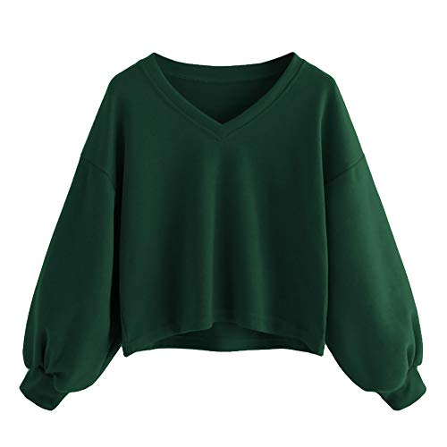 TWIFER Mode Frauen Solid Sweatshirt Pullover Drop Schulter Laterne Ärmel Sweater -