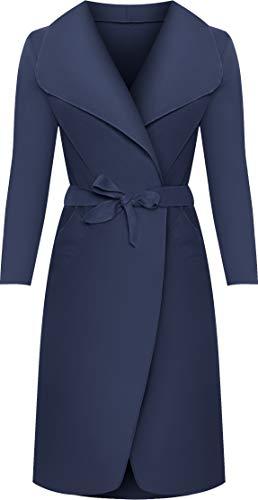 WearAll - Manteau Long Ceinture Poche Ouverte Mesdames Celebrity Cascade Veste Cape - Bleu Marine - Une Taill