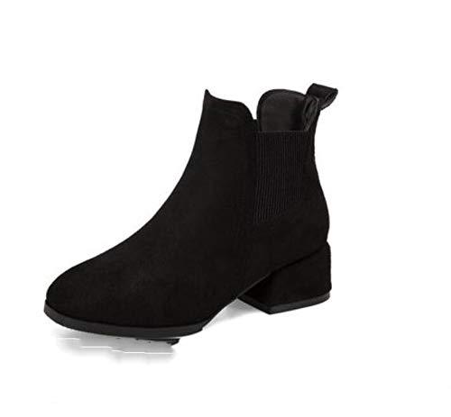 MHCY Schwarz Herbst Winter Stiefel Frauen Stiefeletten für Frauen Schnee bootsthick Ferse Damen bootsoutdoor verschleißfeste Retro Mode erhöhen dämpfung warm halten rutschfeste, 39 -