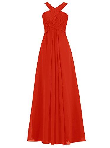 Dresstells Damen Bodenlang Cocktail-Kleider Abendkleider Mit Reißverschluß Party Kleider Rot