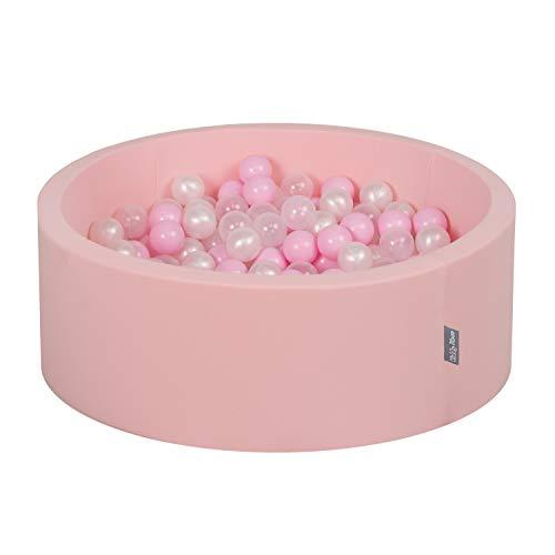KiddyMoon Piscina De Bolas 7CM para Ninos Hecha En La UE, Rosa: Rosa Claro/Perla/Transparente,90X30cm/200 Bolas