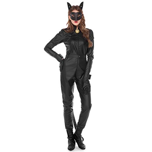 Dress Kostüm Catwoman Up - Damen Halloween Catwoman Jumpsuits schwarz, 9 Stück Halloween Kleidung Damen für Fasching, Party, Halloween Outfits Cosplay Kostüm, Halloween Dress Up Party Gr. Medium, Schwarz