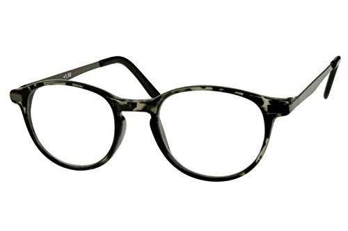 Lesebrillen rund mit schönen großen Gläsern grau schwarz für Damen Herren leicht transparenter Kunststoffrahmen schmale Metallbügel mit Etui, Dioptrien:Dioptrien 2.5