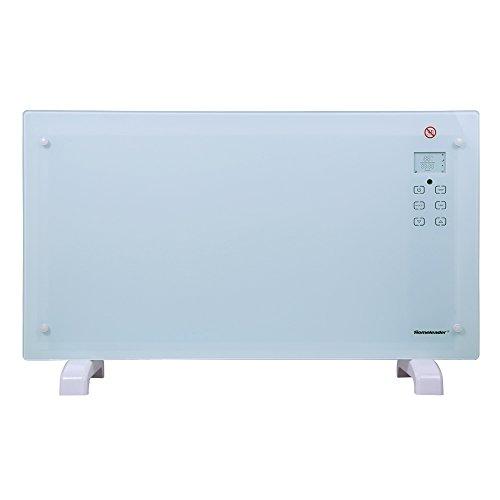 Homeleader GH-20F Elektroheizung Glas Konvektor, 2000W elektrische Konvektor Heizung mit Touchscreen/Fernbedienung/Überhitzungsschutz/Stand- oder Wandgerät/Timer/Weiß