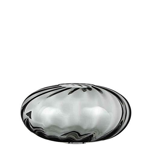 Casa Vivante Deko Vase Rollo Luxuriös Glas Grau Rund - 19 x Ø 37 cm - Blumenvase - Glasvase Luxus - Tisch Deko (Niedrige Runde Glas-vase)