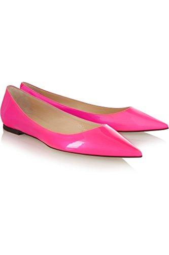 EDEFS Femmes Artisan Fashion Mocassins Classiques Lady Eclatant Délicats Bout Pointus Chaussures Plates Orange Rosé